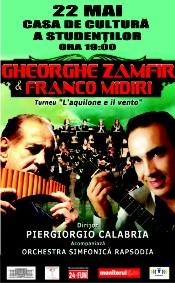 """Turneu """"L'aquilone e il vento"""" Gheorghe Zamfir și Franco Midiri - 22 mai - Cluj-Napoca"""